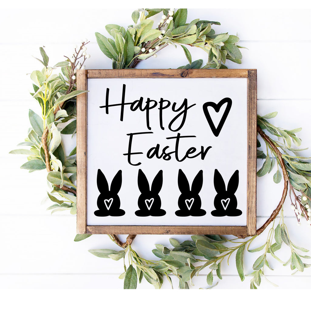 Happy Easter Bunny Butt 3D Sign - Farmhouse Style Easter DIY Paint Your Own