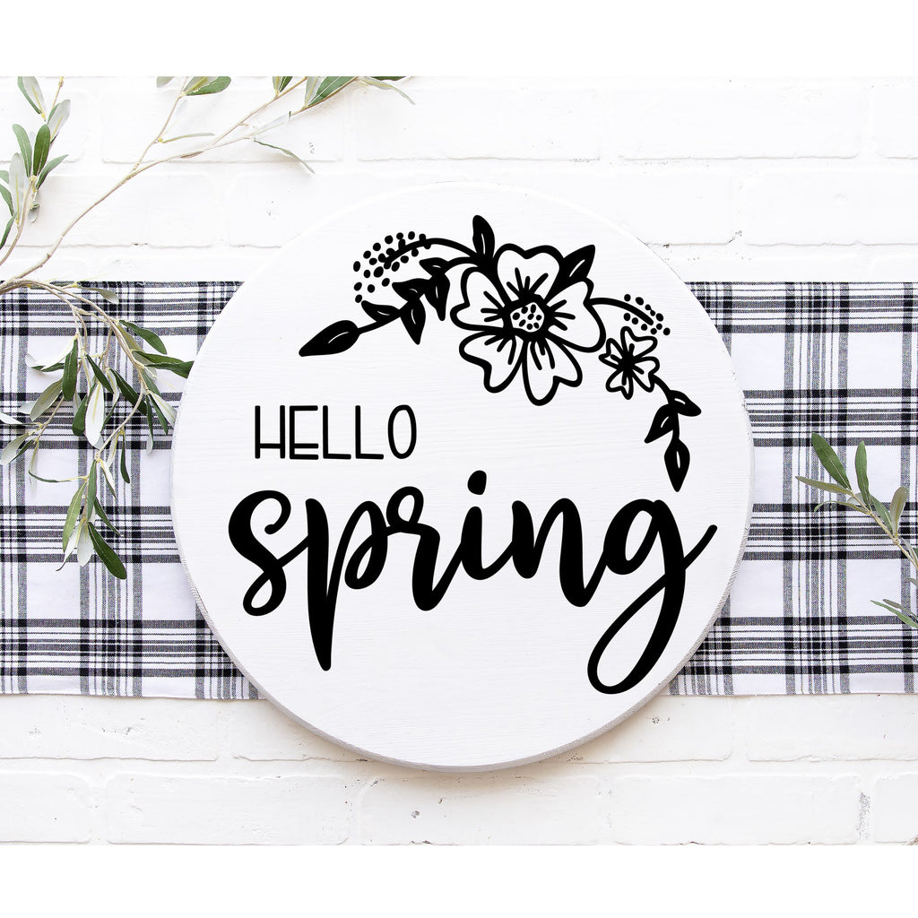 Hello Spring Floral 3D Sign - Modern Farmhouse Style DIY Paint Your Own Round Kit