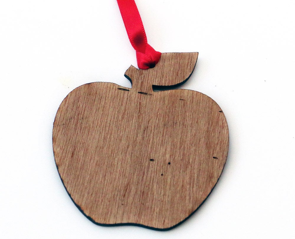 Personalized Teacher Christmas Gift - Apple Ornament for Teacher - Best Teacher Ever - Custom Wood Christmas Ornament for Teacher