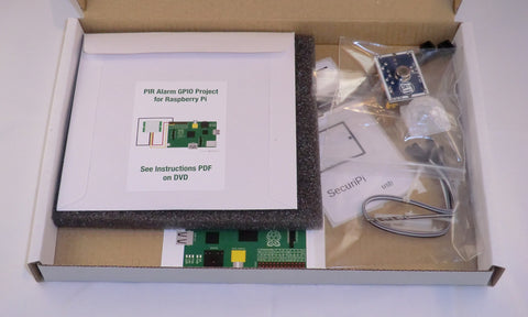 PIR Motion Detecting Alarm GPIO Project Kit for Raspberry Pi. Emails photos and alerts to your mobile phone.