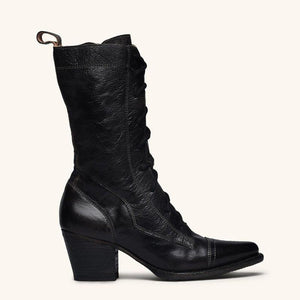 Women Mid-calf Chunky High-heel Boots