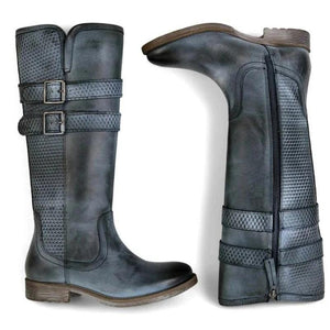 Women Vintage Buckle Riding Boots