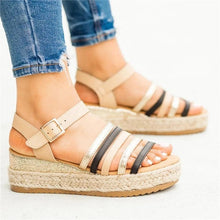 Load image into Gallery viewer, Colorblocked Strips With Platform Sandals