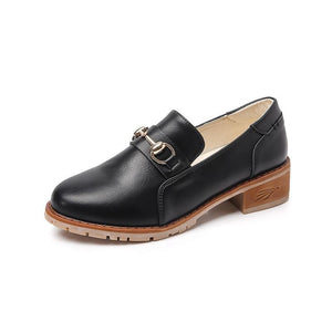 Vintage Fashion Metal Buckle Loafers Chunky Heel Oxford Shoes