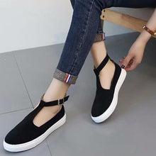Load image into Gallery viewer, Large Size Women PU Casual Ankle Strap Cavans Buckle Flats Loafers