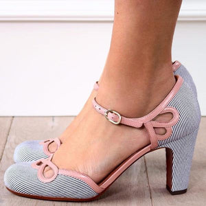Polka Dot Hollow High Heel Sandals