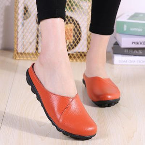 Large Size Women Pure Color Soft Sole Casual Round Heel  Flat Shoes Slip-on  Loafers