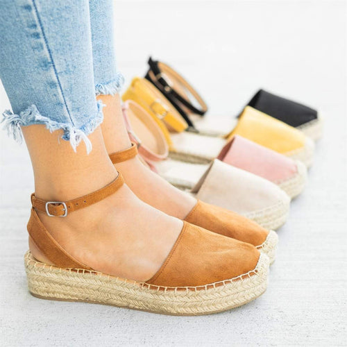 Women's Suede Round Toe Adjustable Buckle Middle Platform Espadrille Sandals