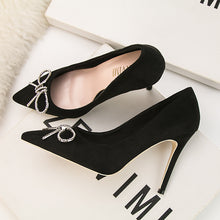 Load image into Gallery viewer, Fashion Shallow Mouth Pointed High Heel Metal Diamond Button Bow Single Shoes Sweet High Heels