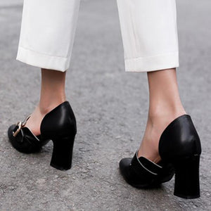 Summer Work Chunky Heel Round Toe Shoes