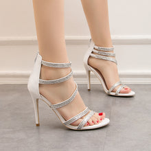 Load image into Gallery viewer, Fashion Party Peep Toe High Heels Night Club Show Thin Sandals Cross Tie Thin Heels Women's Shoes