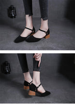 Load image into Gallery viewer, square toe roma sandals women ankle strap flock gladiator sandalias chunky heel all-match