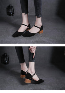 square toe roma sandals women ankle strap flock gladiator sandalias chunky heel all-match