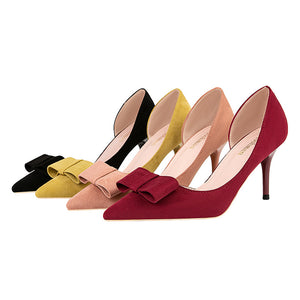 Sweet High-heeled Shoes Shallow Mouth Pointy Sexy Hollow Suede Bow Women's Single Shoes