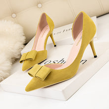 Load image into Gallery viewer, Sweet High-heeled Shoes Shallow Mouth Pointy Sexy Hollow Suede Bow Women's Single Shoes