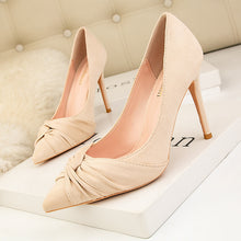 Load image into Gallery viewer, Sexy Nightclub Show Thin Suede Women's Shoes High Heel Shallow Pointed Bow Woman