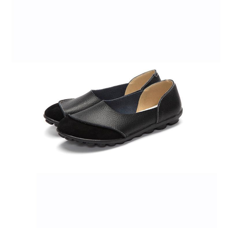 Women Large Size Split Artificial Leather Panel Flats Slip On