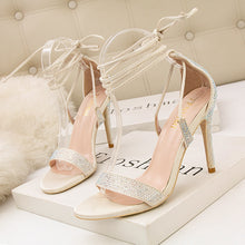 Load image into Gallery viewer, Summer Fashion High Heel Cross Strap Sexy Nightclub Rhinestone Sandals Women's Shoes