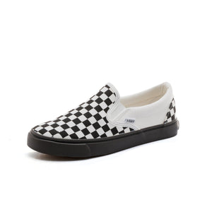 Women Flats Checkerboard Plaid Canvas Round Toe Couple Fashionable Casual Shoes Slip-on