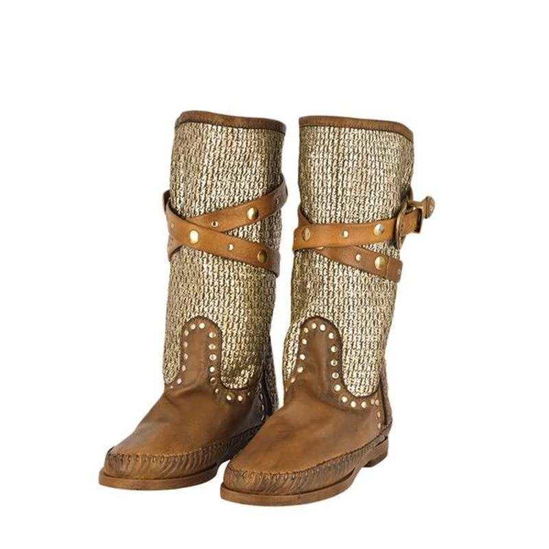 WOMEN'S VINTAGE STYLE CASUAL RIVET BOOTS