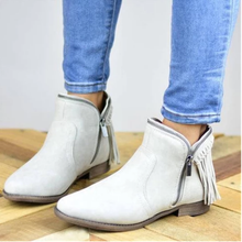 Load image into Gallery viewer, Women's Side Zip Tassel Ankle Boots