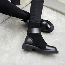 Load image into Gallery viewer, Fashion casual ladies belt buckle stitching ankle boots