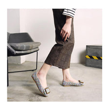 Load image into Gallery viewer, Big Size Knitted Pointed Toe Chunky Heel Shoes Slip on Flat Loafers Microfiber