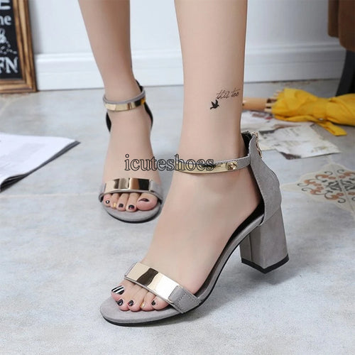 Summer Sandals Women's High Chunky Heels Word Buckle with Women's Roman Sandals