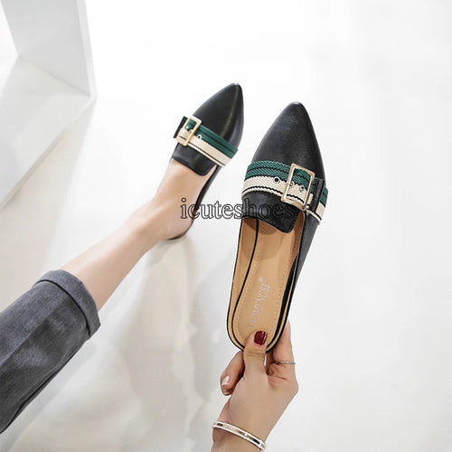New Pointy Half Wrapped Shoes Women's Fashion Metal Belt Buckle Muller Shoes Pointy Sandals