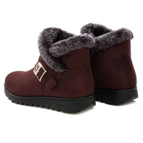 Women Suede Wedge Heel Fleece Lined Buckle Slip On Boots