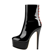 Load image into Gallery viewer, Platform Stiletto High Heel Patent leather Ankle Boots