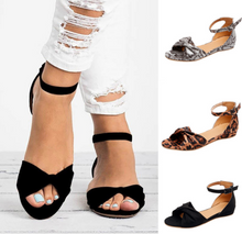 Load image into Gallery viewer, Women's PU Peep Toe Buckle Wedge Heel Flat Sandals