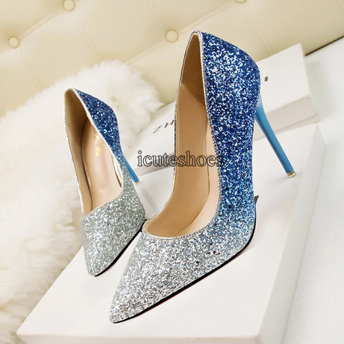 Fashion Sexy Nightclub Pointed Shallow-heeled High-heeled Women's Shoes Sequins Shoes