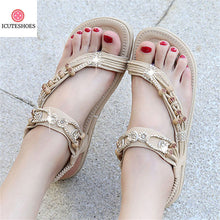 Load image into Gallery viewer, Fashion Rhinestone Bead Big Size Women Bohemian Sandals Comfortable Flats Flip Flops