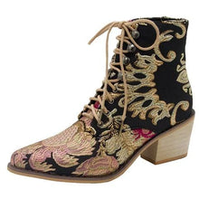 Load image into Gallery viewer, Plus Size Chunky Heel Vintage Flowers Embroidery Mid Boots