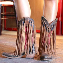 Load image into Gallery viewer, Pointed Toe Tassel Printed Boots