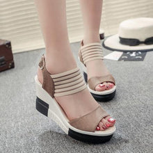Load image into Gallery viewer, Casual Summer Suede Buckle Wedge Heel Sandals