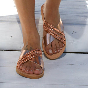 Plus Size Criss Cross Slippers