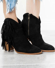 Load image into Gallery viewer, Side Zip Tassle Ankle Bootie