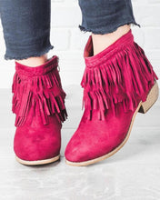 Load image into Gallery viewer, Solid Heeled Tassel Ankle Booties
