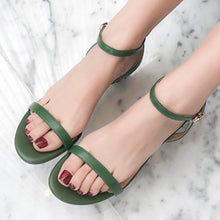 Load image into Gallery viewer, Genuine Leather Cute Middle Heel Summer Sandals
