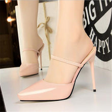 Load image into Gallery viewer, Elastic Band Concise Patent Leather Women Slippers Pointed Toe Fashion Platform High Heels 12cm Shoes Women's Sexy Slippers
