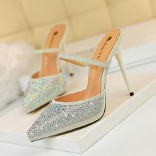 Load image into Gallery viewer, Fashion New Women Slippers Women Pumps Crystal Women High Heels Sandals Sexy Pointed 11cm Wedding Shoes Party Women Shoes