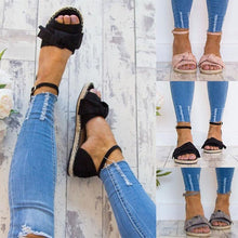 Load image into Gallery viewer, Ankle Strap Flats Lace Up Shoes Suede Espadrilles Sandals