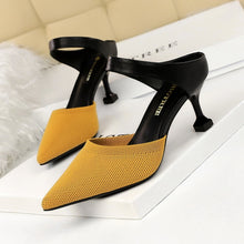 Load image into Gallery viewer, New Summer Outside Women Slippers 6.5cm High Thin Heel Pointed Toe Fashion Sexy Ladies Women Shoes Red Female Mules Slides