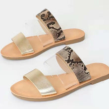 Load image into Gallery viewer, Woman Flat Sandals Mix Color Slip on Transparent Peep Toe Casual Beach Shoes Ladies Female