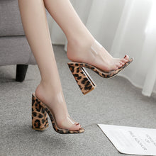 Load image into Gallery viewer, New Women Slippers Square High Heels Summer Strap Outdoor Female Peep Toe Elegant Leopard Shoes