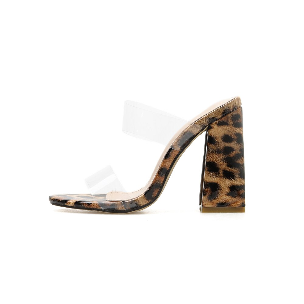 New Women Slippers Square High Heels Summer Strap Outdoor Female Peep Toe Elegant Leopard Shoes