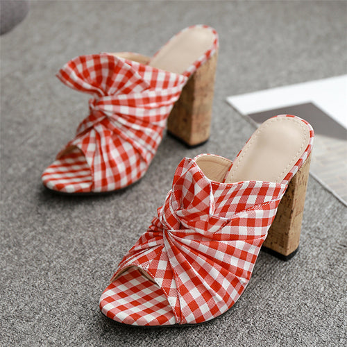 Summer Women High Heels Mules Red Butterfly Block Heels Slides FemaleChunky Slippers Peep Toe Shoes