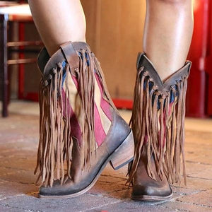 Pointed Toe Tassel Printed Boots
